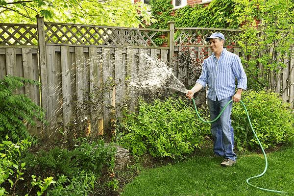 man-watering-garden-by-using-soaker-hose